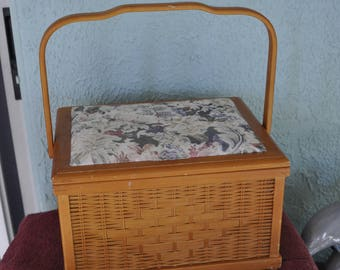 Wood Sewing Basket.