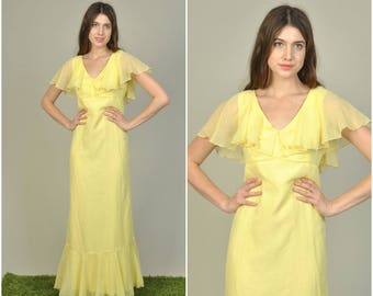 Large 1970s does 1930s Yellow Ruffled Maxi dress  | vintage 1970s dress | yellow cotton ruffle 70s maxi dress