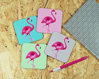 Flamingo coaster - flamingo design - flamingo print - wooden coasters - drinks coasters - drinks mat