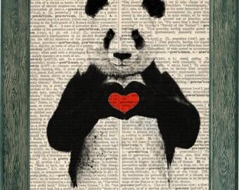 Panda art, panda print, panda poster, panda dictionary art, panda heart, panda love art, animal art, panda with heart, love art, panda gift