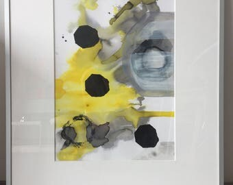 Modern abstract minimal art. Watercolour modern painting on paper.