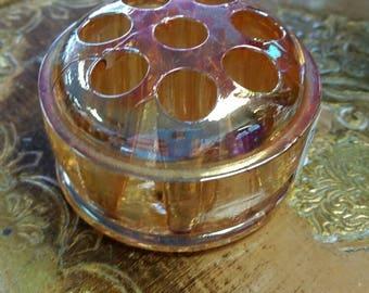 Amber Glass Flower Frog