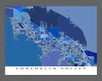 Coachella Valley Map Print, Palm Springs, Palm Desert, Coachella Map