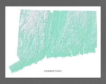 Connecticut Map Print, Connecticut State, Aqua, CT Landscape Art