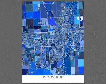 Fargo Poster, Fargo ND Map Print, City Art Maps