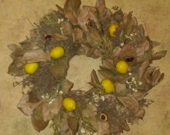 Beautiful Rustic Lemon Citrus Summer/Fall Wreath