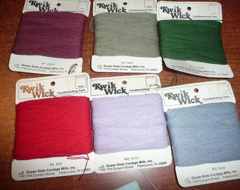 Kwik Wick Candlewick Threads Lilac, Greens, Red, Blue, Natural, Yellow