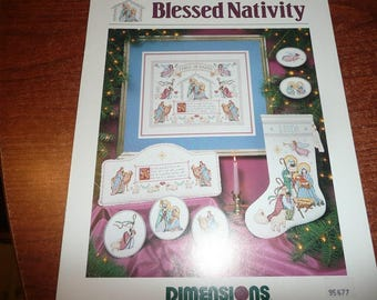 Dimensions Blessed Nativity Cross Stitch Pattern Leaflet