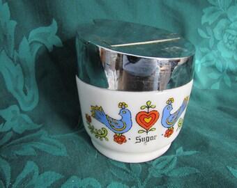 Vintage Gemco Corning Sugar Dispenser, Festival  Friendship  Blue Bird Design