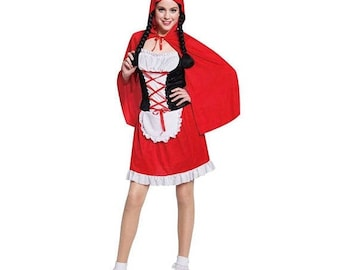 Little RED Riding HOOD Costume - Women's Size OSFM - Storybook Fairytale Costumes - Halloween, Theater, Dress Up, Costume Party Supply