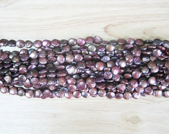 """Burgundy Red Freshwater Coin Pearl - 15"""" Strand (12mm)"""