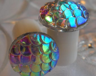0g Plug, 00g Plug, Rainbow Mermaid Scales Plug, No Flare or Double Flare Acrylic Plug