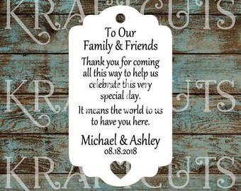 Destination Wedding Thank You Favor Tags with Heart Cut Out #775 - Quantity: 30 Tags