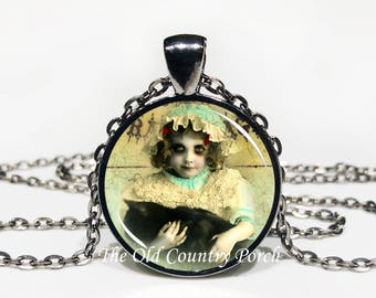 Creepy Lovecraft Dream inspired Girl with Black Cat -Glass Pendant Necklace/Halloween Necklace