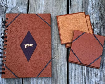 Leather Bound Wine Journal with Matching Coasters