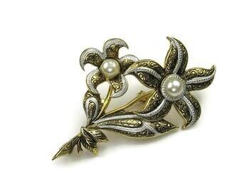 Damascene Flower Brooch