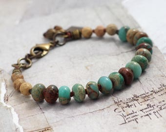 Impression jasper bracelet Turquoise and brown jewelry Turquoise bracelet Rustic bracelet with clasp Cowgirl jewelry Chunky stone bracelet