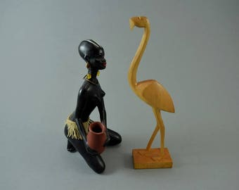Vintage wooden flamingo bird sculptur figurine, Mid Century Design, popular design object of the 60s