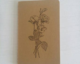 Rose Stamped Pocket Moleskine Cahier