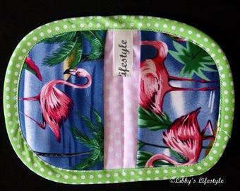 Flamingoes Mini Pot Holder, Oven Mitt. Handmade.