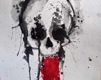 watercolor painting: watercolor skull painting-black and white-art print-black and white skull-10X15