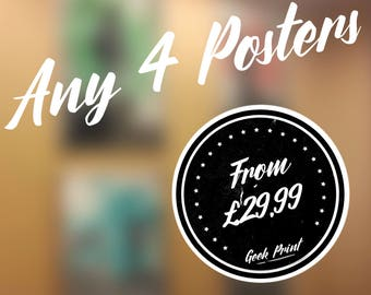 Any 4 posters! Minimalist Geek Art Print Discount Deal