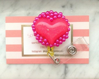 Hot Pink Heart ID clip