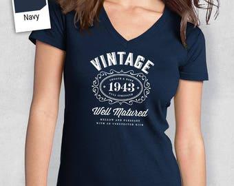 75th Birthday, Women's V-Neck, 75th Birthday Idea, 75th Birthday Present, or Birthday Gift. 1943 Birthday, For The Lucky 75 Year Old!