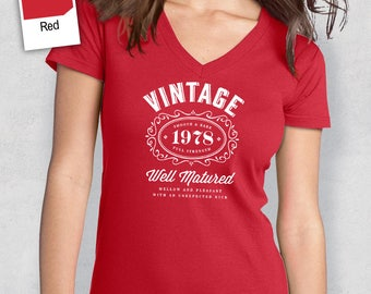 40th Birthday, Women's V-Neck, 40th Birthday Idea, 40th Birthday Present, or Birthday Gift. 1978 Birthday, For The Lucky 40 Year Old!