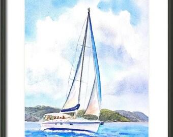 Sailboat painting, ORIGINAL Watercolor, 9x12, Yacht Sailing, Boat, Nautical decor, Sailor, gift for him, Marine Ocean Coast Seascape, Beachy