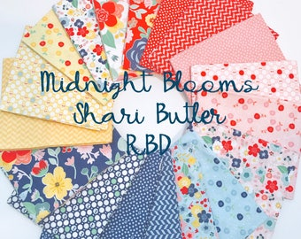 SALE!! Fat Quarter Bundle Midnight Blooms by Shari Butler for Riley Blake Designs- 18 Fabrics
