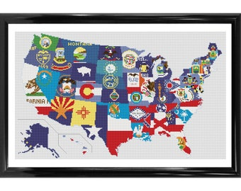 Flags of the USA - Map Counted Cross Stitch Kit