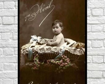 On Sale- Baby Basket Edwardian Child Postcard With Fish Printable Photo Child Instant Download Digital Collage Ephemera Edwardian Vintage Al
