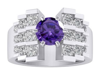 2.75 CT Amethyst & Diamond Solitaire Staircase Design Empire Engagement Ring In 14K White Gold