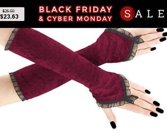 Burgundy black long fingerless gloves, velvet arm warmers gothic burlesque vintage bohemian, womens evening gloves, goth wedding lolita 18R