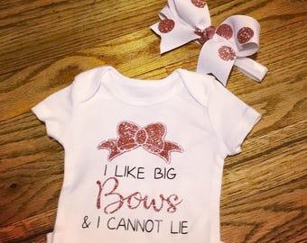 I like big bows and i cannot lie, big biws, baby, girls, glitter, rose gold