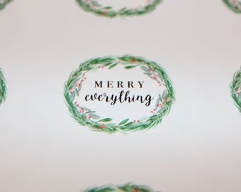 Merry Everything Stickers | Packaging Labels | Holiday Stickers | Christmas Stickers