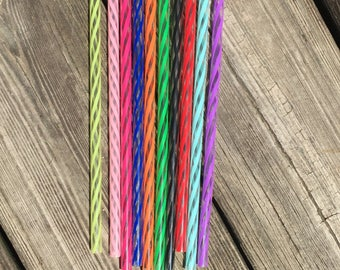 """Closeout* Only Certain Colors Remain* Reusable 9"""" Clear/Swirly Straws/Acrylic Straws/Wholesale Straws/Reusable Straws."""