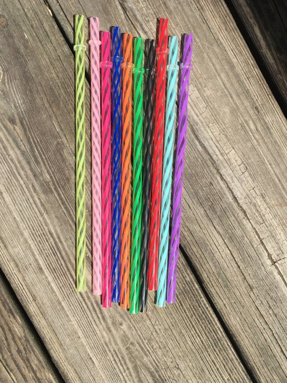"Closeout* Only Certain Colors Remain* Reusable 9"" Clear/Swirly Straws/Acrylic Straws/Wholesale Straws/Reusable Straws."