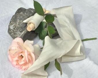 Plant-dyed silk habotai ribbon 3m - Ivory