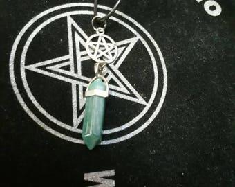 Pentagram & Crystal Necklace, Pentagram Necklace, Crystal Necklace, Green Crystal Necklace