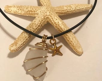 White and Gold Seaglass Necklace with Starfish Charm