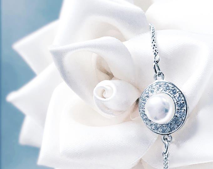 Featured listing image: Elegant Pearl & Cubic Zirconia encrusted Sterling 925 Silver Slider Bracelet