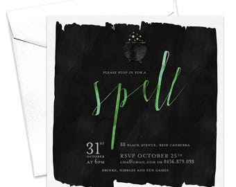 Spell Invitation / Halloween Party Invitation / Kid's Halloween Party Invitation / Printable Invitation / Black Cauldron Spell and Witches