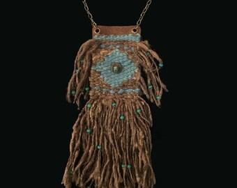 Handwoven necklace, brown tassar organic silk