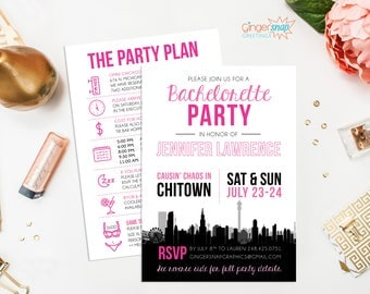 Chicago Bachelorette Party Invitation