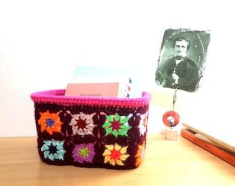 Storage basket, organizer multicolored crocheted