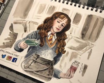 """Hermoine Granger 9x12"""" original signed watercolor painting."""