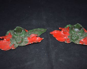 """Poinsettia candle holders / vintage / cast iron / 1920s / green / red / 5.5"""" x 3"""" / antique / candle holders / holiday decor / poinsettia"""