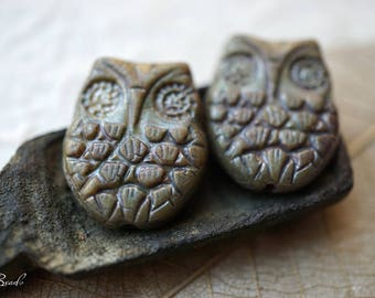 Opaque Owls, Owl Beads, Czech Beads, N1809